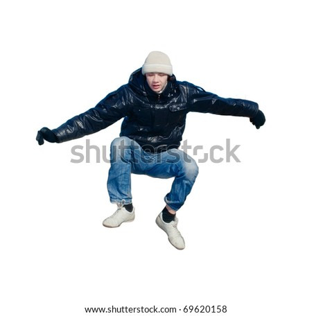 boy jumping on the white background
