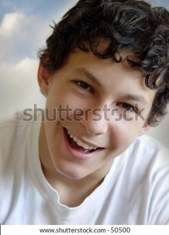 Boy laughing - stock photo