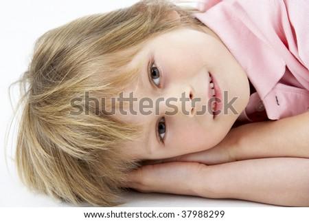 Boy Laying on Stomach - stock photo
