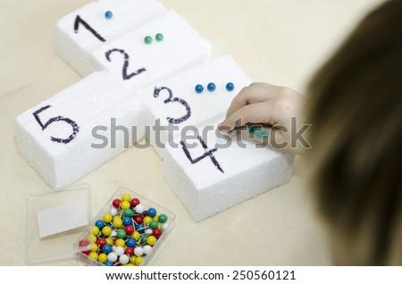 boy learning math - stock photo