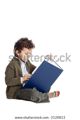 boy learning to read with white bottom - stock photo