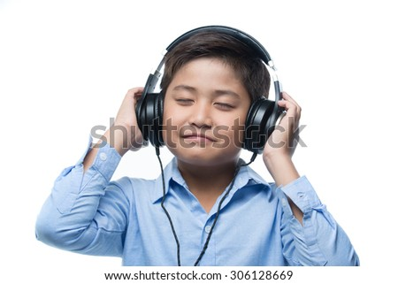 Boy listening good music