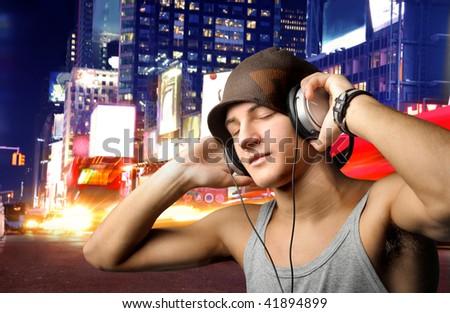boy listening music - stock photo