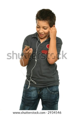 Boy listening music with a mp4 player, white background