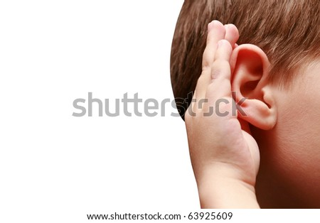 boy listens - stock photo