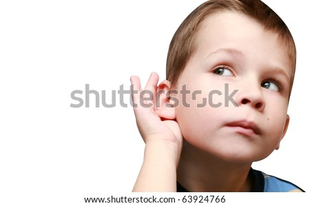 boy listens to gossip - stock photo