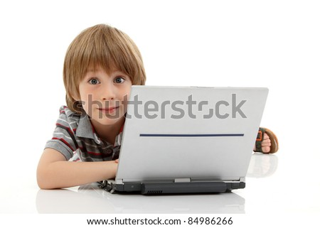 boy little learning with notebook isolated on white background - stock photo