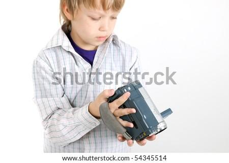 boy looking to camera - stock photo