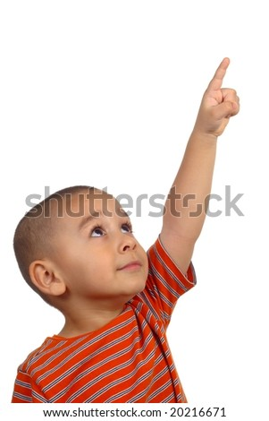 Boy looking up and pointing - stock photo