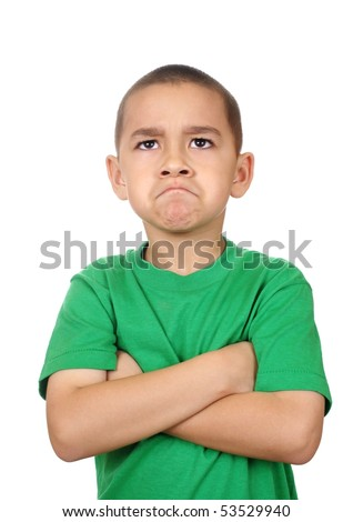 Boy looking up angry, isolated on white background - stock photo