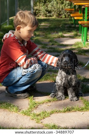 Boy looks at the dog - stock photo