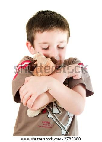 boy love dog - stock photo