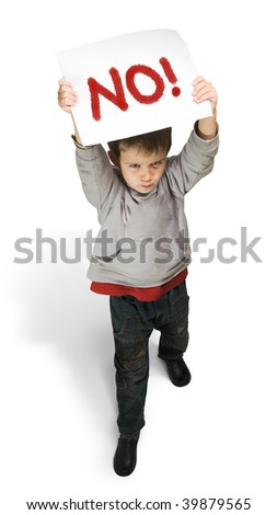 Boy makes the protest. Isolated. - stock photo