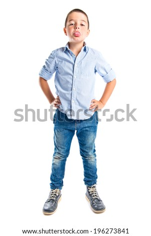 Boy making a mockery over isolated background