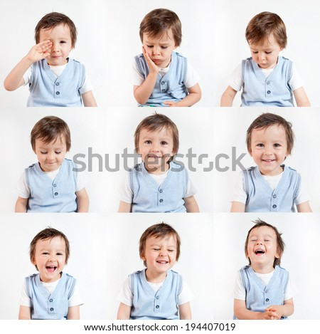 Boy,making funny faces on a white background - stock photo