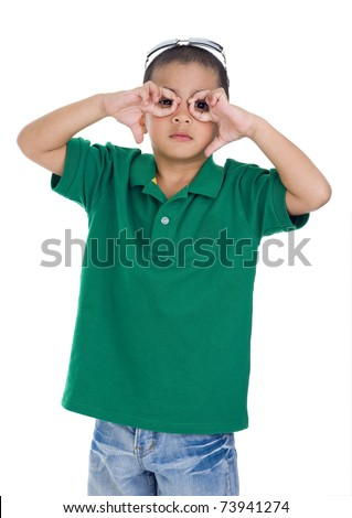 boy making glasses symbol with his fingers, isolated on white background - stock photo
