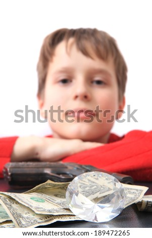boy, money and diamond - stock photo