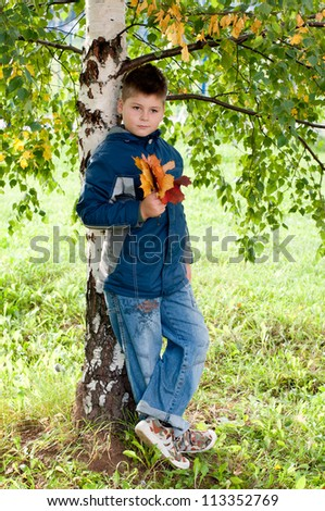 Boy near a tree in the park