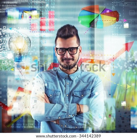 Boy nerd with background graphics and statistics - stock photo