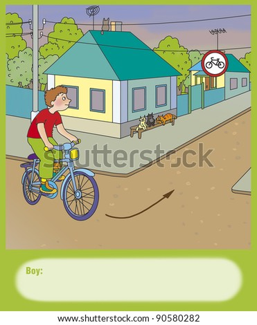 boy on a bicycle is going to turn left, correct? - stock photo