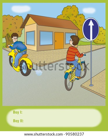 boy on a bicycle turned right, correct? - stock photo