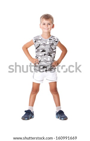 Boy on a white background. Shot in a studio - stock photo