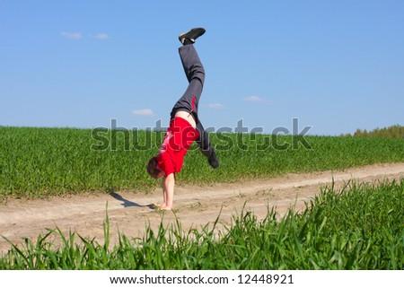 boy on background field - stock photo