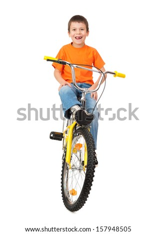 boy on bicycle isolated on white