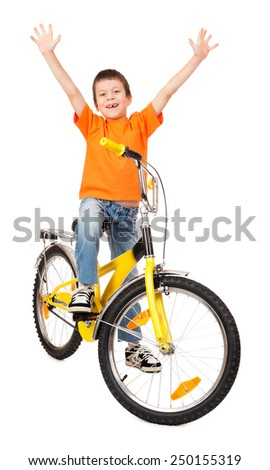 boy on bicycle open arms - stock photo