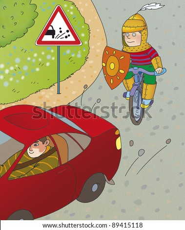 Boy on bike rides behind cars on a dirt road, correct? - stock photo