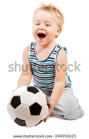 BOY ON WHITE BACKGROUND - stock photo