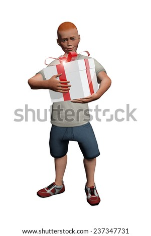 Boy opening a gift box - stock photo