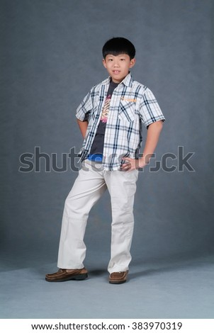 boy or asian little boy dancing on background - stock photo