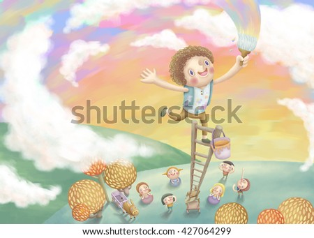 Boy painting colorful sky with his friends.  Lovely illustration in hand drawn style