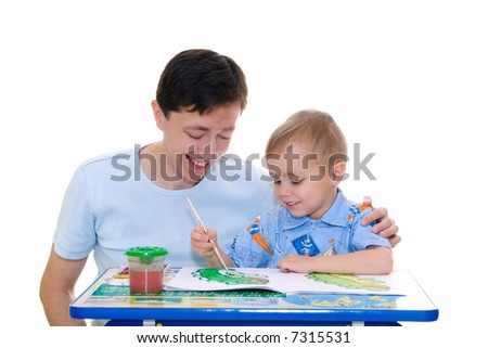 Boy painting with father. Learning child. Isolated
