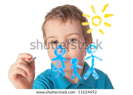 boy paints on glass - stock photo