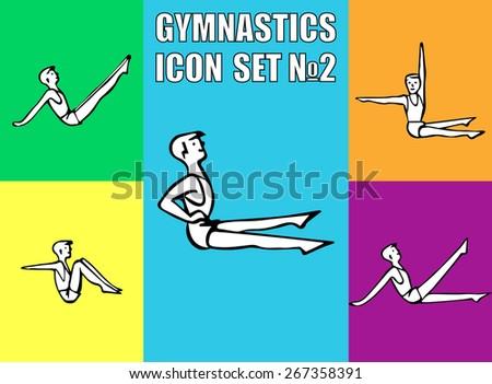Boy performs sitting exercises of fitness. illustration icon  - stock photo