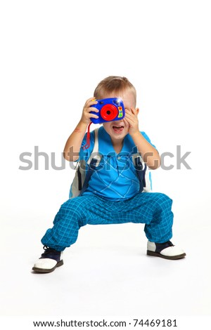 Boy Photographer - stock photo