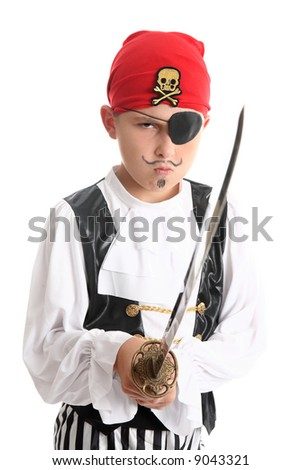 Boy pirate wearing patch and bandanna and holding a sword - stock photo