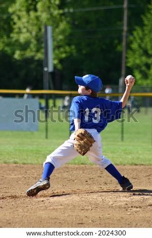 Boy Pitching - stock photo