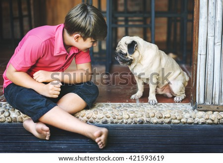 Boy Playful Doggy Friend Togetherness Concept - stock photo