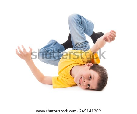 Boy playing and have fun. White background - stock photo