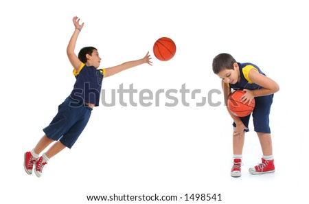 Boy playing basketball isolated. Different positions.