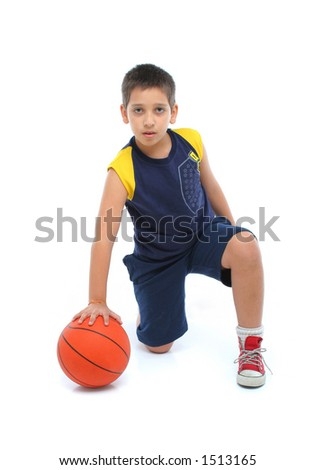 Boy playing basketball isolated. From my sport series. - stock photo