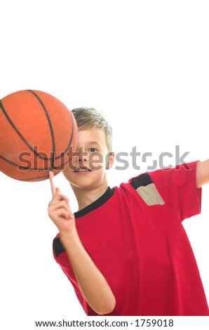 Boy playing basketball. Isolated on white - stock photo