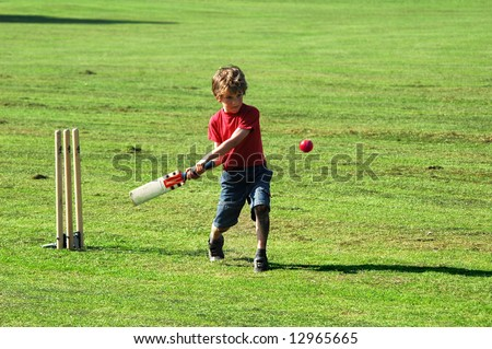 boy playing cricket - stock photo