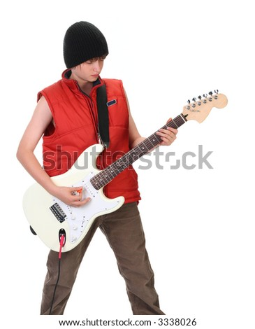 boy playing electric guitar, isolated on white