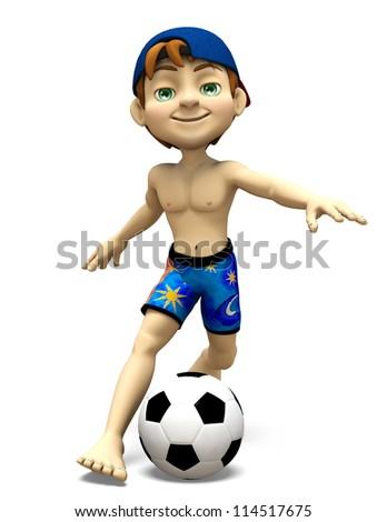 boy playing football - stock photo