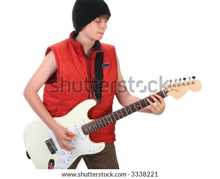 boy playing guitar, isolated on white