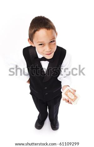 boy playing pocker isolated on white - stock photo